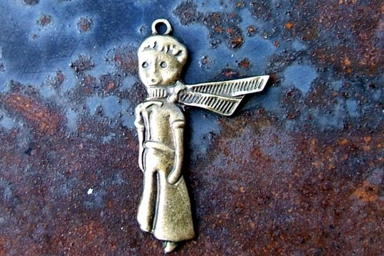 Antiqued Bronze Little Prince (with his Scarf) charm