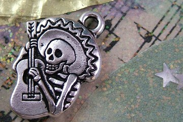 Silvery Day of the Dead Mariachi Charm