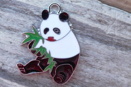 Silver and Enamel Panda Charm