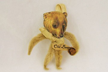 Old Fashioned Chenille Ornament - TAN Bear - Old Bear