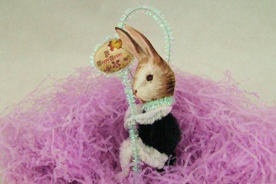 Black & White Bunny with Easter Egg Old-Fashioned Chenille Scrap Ornament