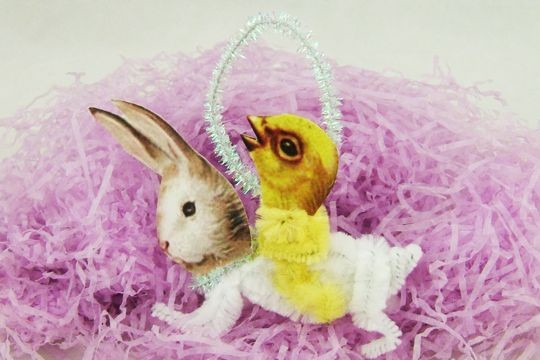 Chick Riding a Bunny Vintage-Style Chenille Ornament