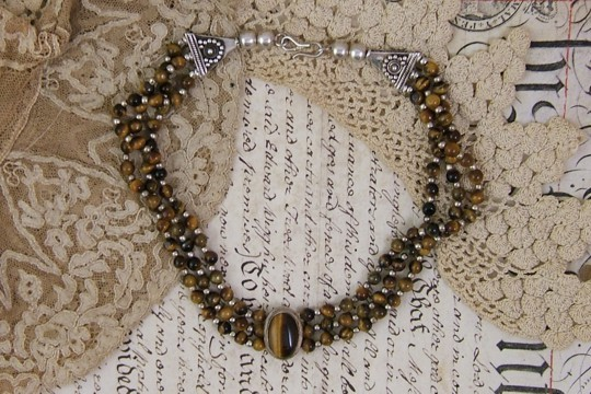Tiger's Eye and Sterling Silver Choker Necklace