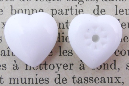 Vintage Small White Glass Heart Component