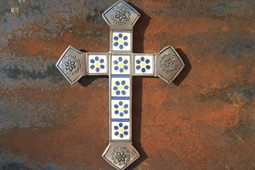 Tin and Talavera Cross featuring Blue and Yellow Daisies