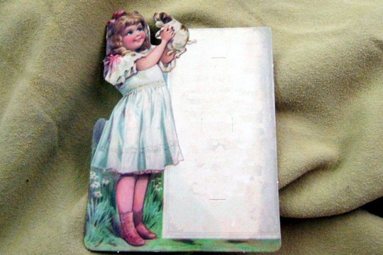 Embossed Die Cut Little Girl Holding Her Dog with a Sign