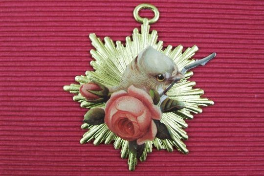 Gilded Dove and Rose Diecut Dresden Ornament