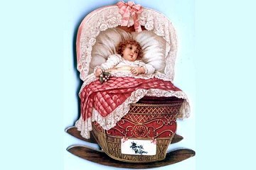Victorian Reproduction Die Cut SMALL Baby in a Cradle with Pink Accents