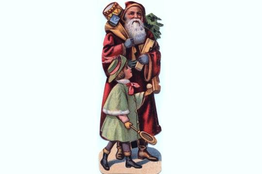 Santa with a Child & a Bag of Toys - Victorian Reproduction Die Cut