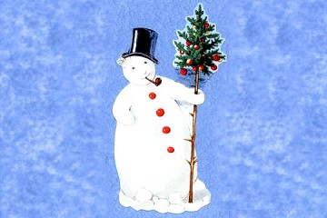 Large Die Cut - Smoking Snowman with Top Hat and Tree