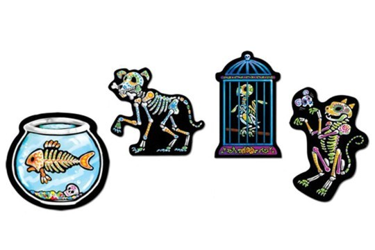 Day of the Dead Pets Cut Outs - Fish, Dog, Bird & Cat
