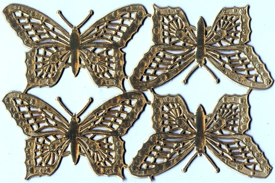 Lacey & Delicate Golden Butterfly Dresdens - Package of 4