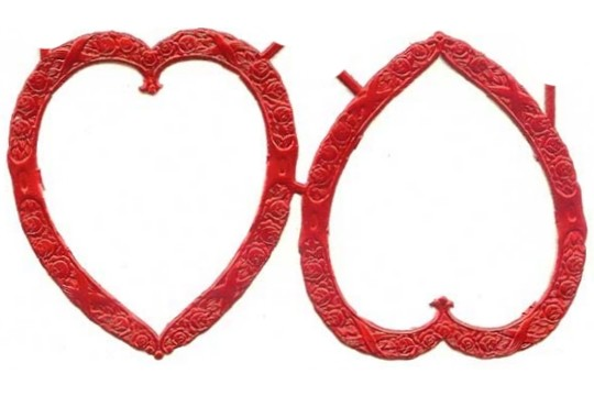 2 Fancy Red Dresden Heart Frames (Double-Sided)