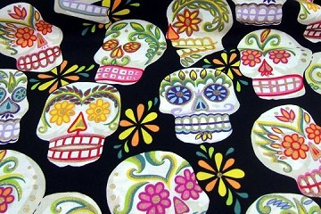 Half-Yard/s of Fabric - Glittery Large Calaveras (Skulls) on BLACK Background