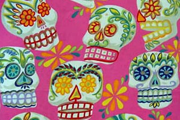 Half-Yard/s of Fabric - Glittery Large Calaveras (Skulls) on Pink Background