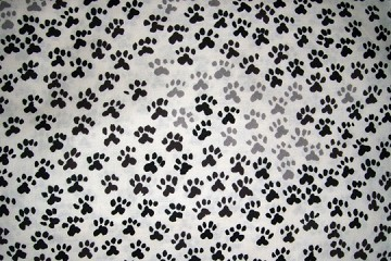 Half-Yard/s of Fabric - Paw Prints in Black & White
