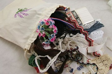 Grab Bag of Vintage Lace and Trims - 10 Yards & More in a Lavender Embroidered Muslin Bag