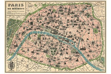1 Rolled Sheet of Paris Map Giftwrap Paper
