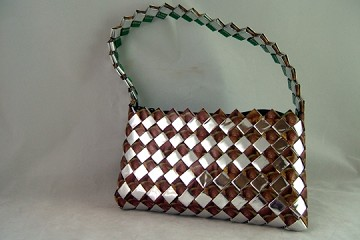 Brown and Silver Candy/Food Wrapper Purse with Handle