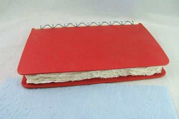 Lovely Large Red Handmade Journal with Gorgeous Handmade Paper