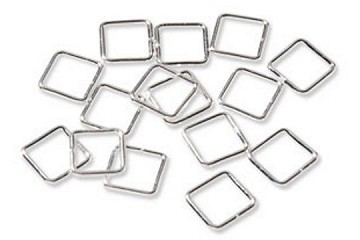 Package of 12 Sterling Silver Plated Square Jump Rings