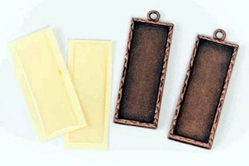 Antiqued Copper Rectangle Bezel Charm Kit with Self-Stick Acrylic Cabochon