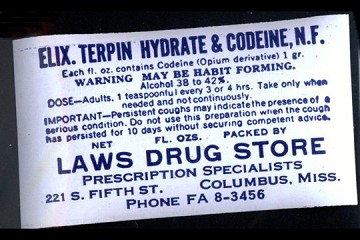 Vintage Elixir of Terpin Hydrate & Codeine Label