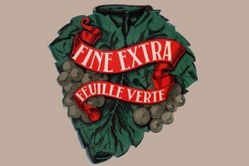 Vintage Grapes Label (Fine Extra Feuille Vert)