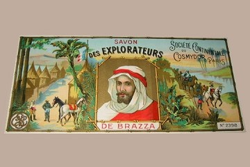 Vintage French Soap Wrapper or Label: Savon des Explorateurs (with de Brazza)