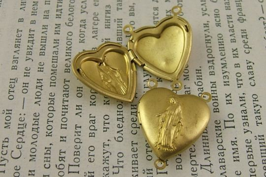 Raw Brass Locket featuring Mary, Our Lady of Grace
