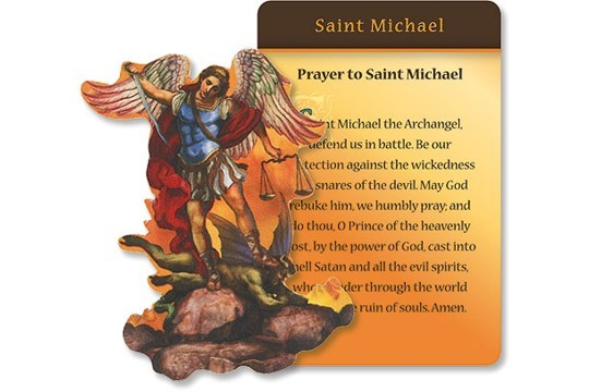 Die Cut Saint Michael the Archangel Magnet and Prayer