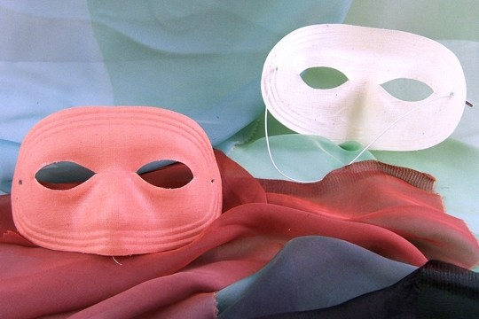 Vintage PINK Fabric Mask with New White Elastic