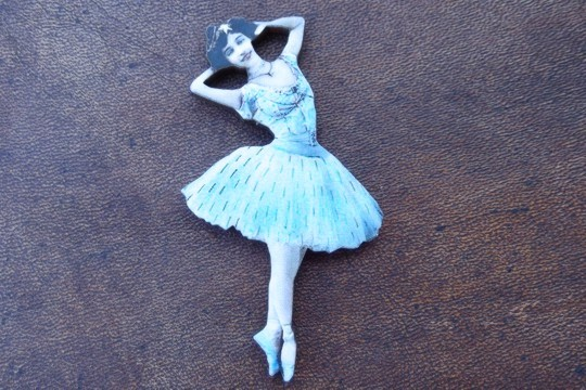 Intricately Laser-Cut and Detailed Blue Wooden Ballerina Motif
