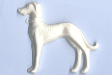 Large Vintage Ivory Cellulose Greyhound Cabochon