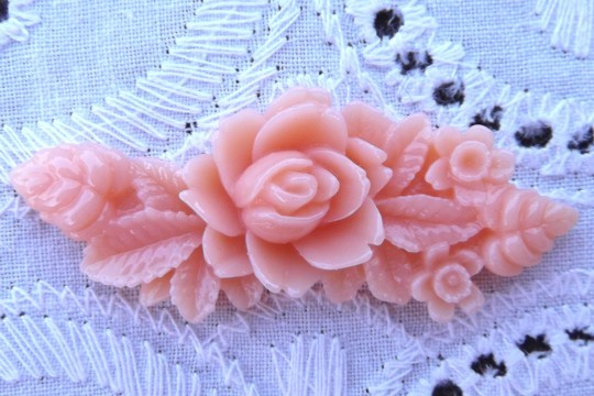 Shiny Pink Plastic Rose and Leaf Motif