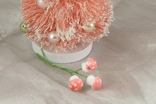 Bundle of 3 Teensy 10mm PINK Amanita Mushrooms on Green Paper-Wrapped Wire Stems
