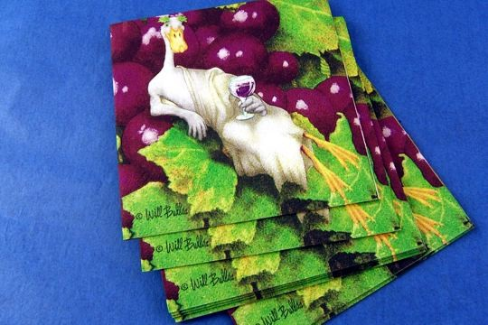 Bacchus Bullas (Duck Drinking Wine) Napkins