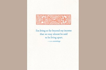 Letter Press Fine Note Card: I'm living so far beyond my income...