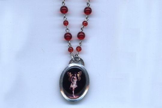 Vintage Style Ruby Glass Beaded Chain Necklace with Butterfly Girl Pendant
