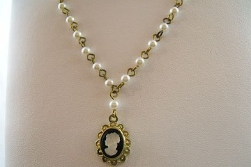 Vintage Cameo Necklace on Glass Pearl Rosary Chain