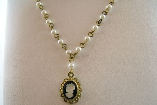 Vintage Cameo Necklace on 18 inch Glass Pearl Rosary Chain