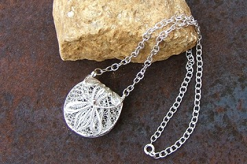 Silver Plated Filigree Doll Purse or Necklace for You in an Anti-Tarnish Pouch