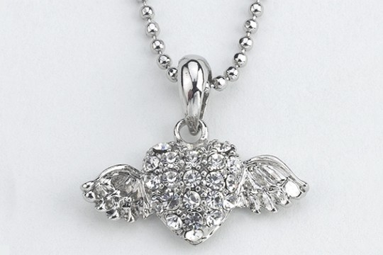 Silvery Austrian Crystal Flying Heart Necklace