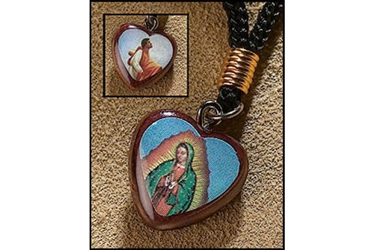 Reversible Heart Shaped Wooden Guadalupe/Juan Diego Pendant on Cord