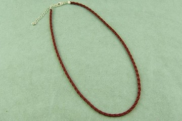 Braided Brown Leather Necklace with Silver-Plate Clasp and Extender