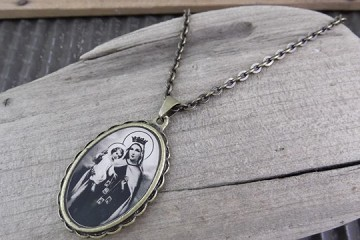 Antique Patina Mary and Jesus Necklace