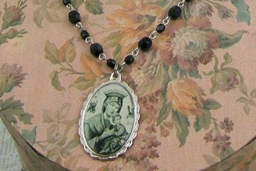 Our Lady of Perpetual Help Necklace on Jet Black Faceted Crystal Rosary Chain