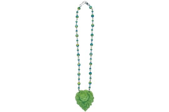 Green Rose Heart Necklace on Beaded Chain
