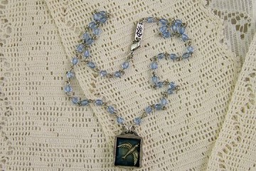 Small Storybox Necklace - BIRD (on Blue Beaded Chain)