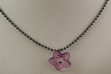 SilverCrow Exclusive Necklace:  Tanner's Dark Pink Flower with Fabric Gift Bag